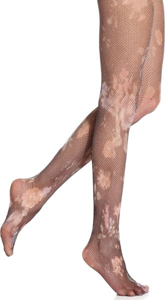 jessica simpson floral printed net tights in black