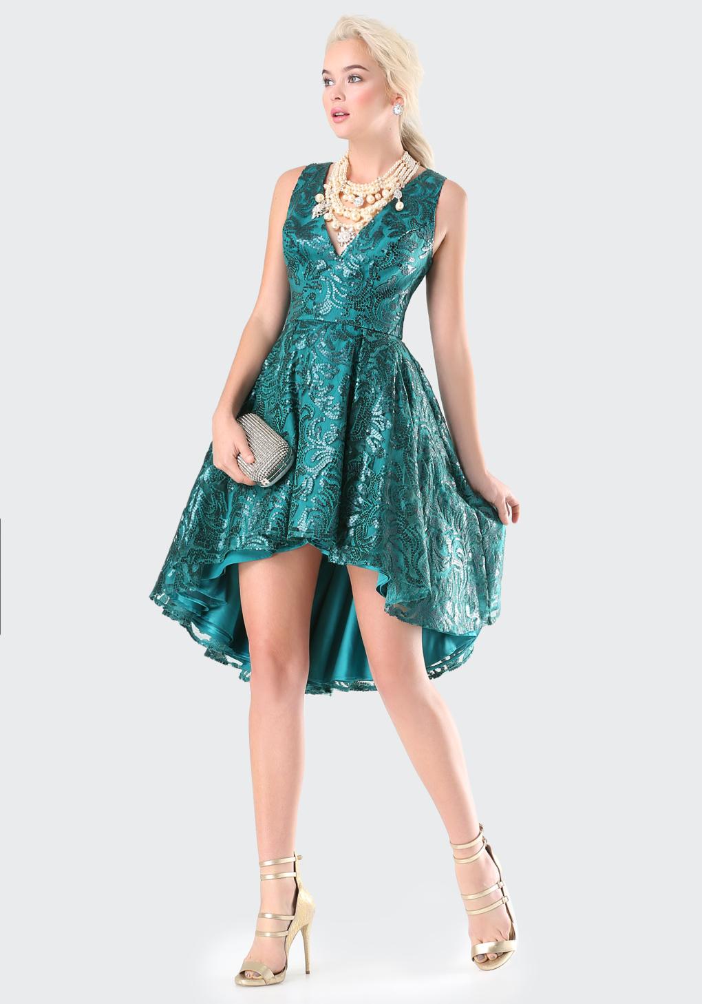 Lyst - Bebe Petite Sequin Hi-lo Dress in Blue