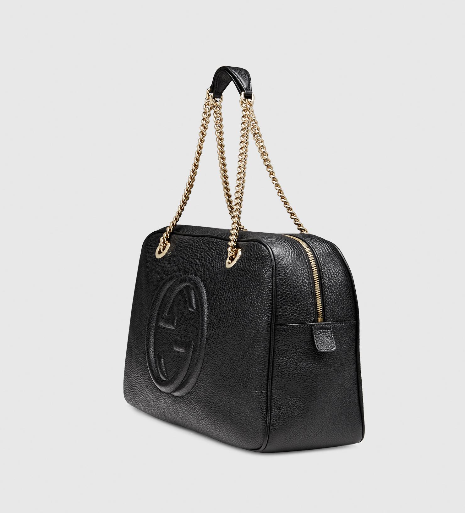 Gucci Soho Leather Shoulder Bag in Black - Lyst