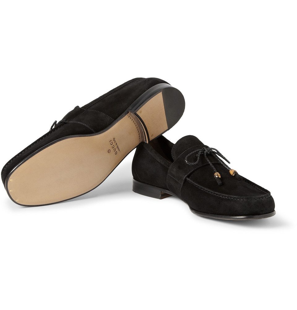 Gucci Suede Penny Loafers in Black for Men - Lyst