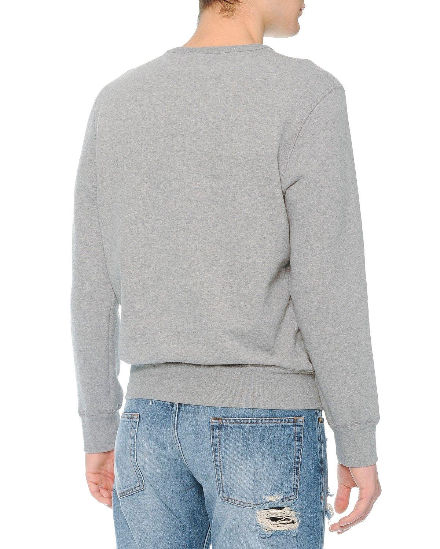 alexander mcqueen crewneck sweatshirt with floral skull print in gray for men lyst. Black Bedroom Furniture Sets. Home Design Ideas
