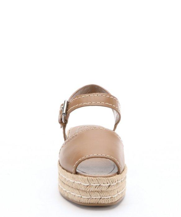 6dcd773f6113 Prada Light Brown Leather Espadrille Platform Sandals in Brown - Lyst