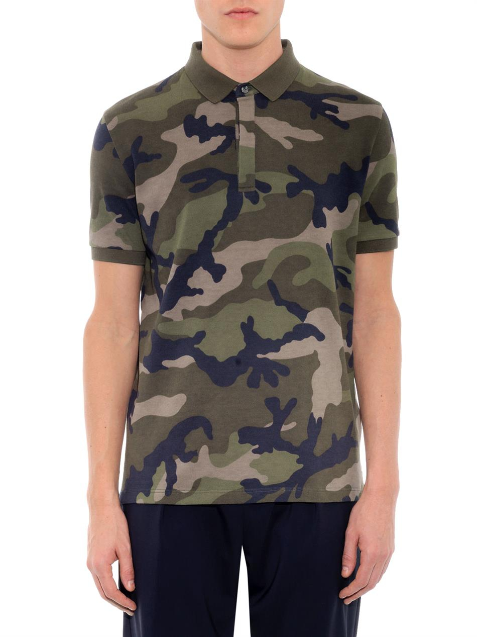 Valentino Camo Print Rockstud Cotton Polo Shirt In Green