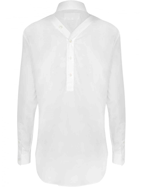 Maison margiela white button down v neck hybrid shirt in for V neck button up shirt