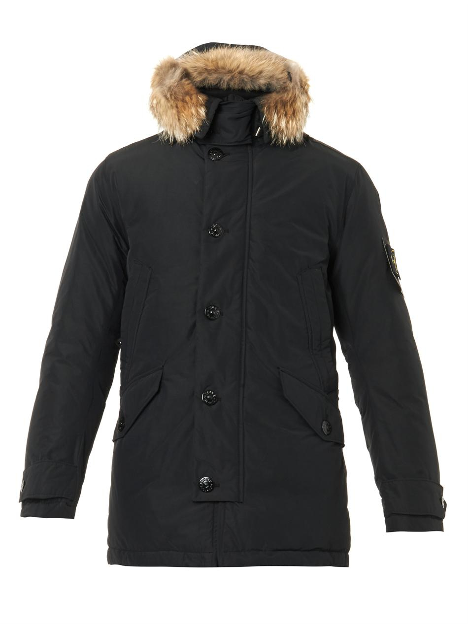 lyst stone island micro reps down parka in black for men. Black Bedroom Furniture Sets. Home Design Ideas