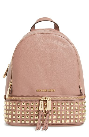 103e4e3deabf ... coupon code for lyst michael michael kors small rhea studded backpack  in pink a5758 a7d1f