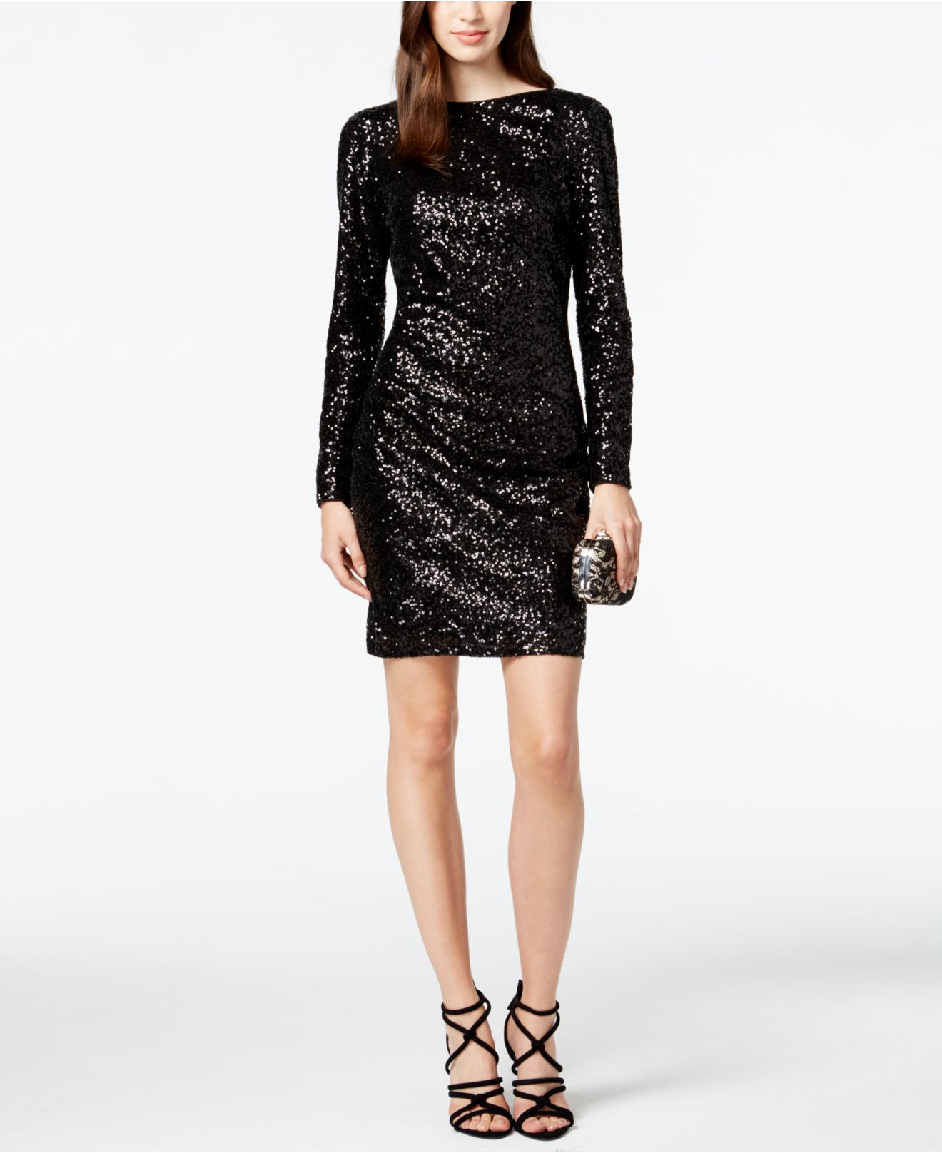 vince camuto black cowl back sequin dress product 0 992085905 normal