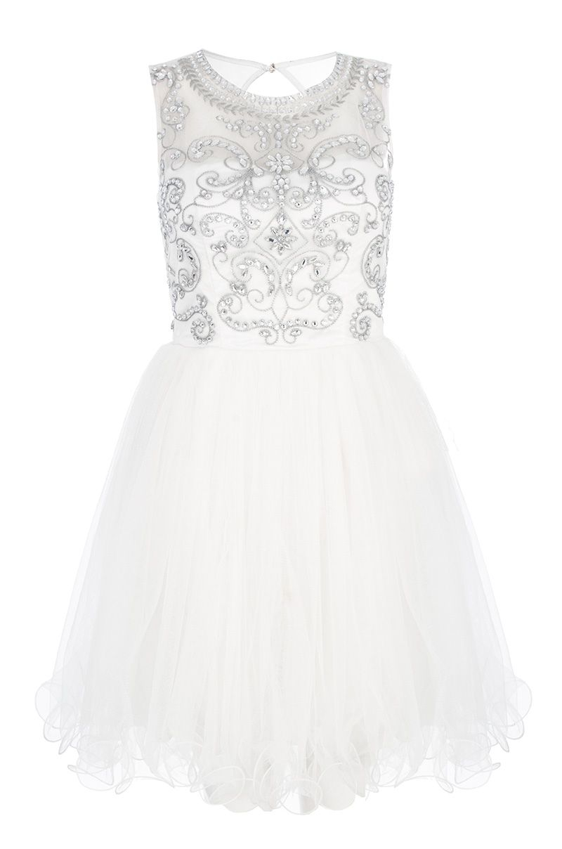Quiz Mesh Diamante Embellished Prom Dress In White Lyst