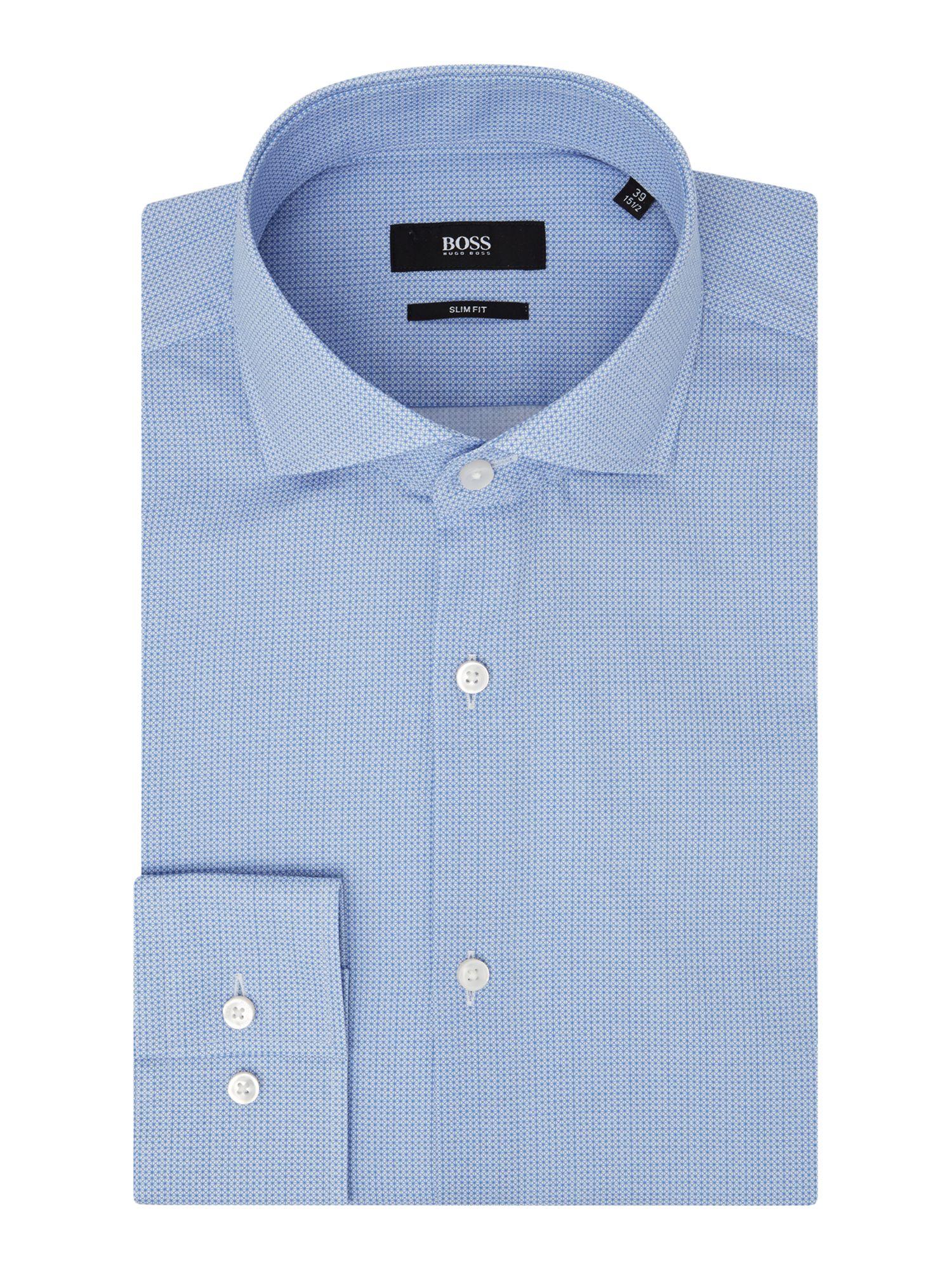 Lyst boss jason pattern slim fit long sleeve shirt in for Hugo boss jason shirt