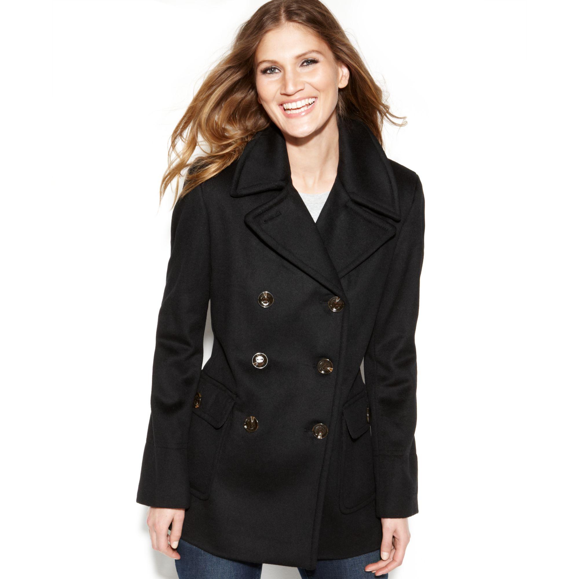 Calvin Klein Wool Blend Double Breasted Pea Coat In Black
