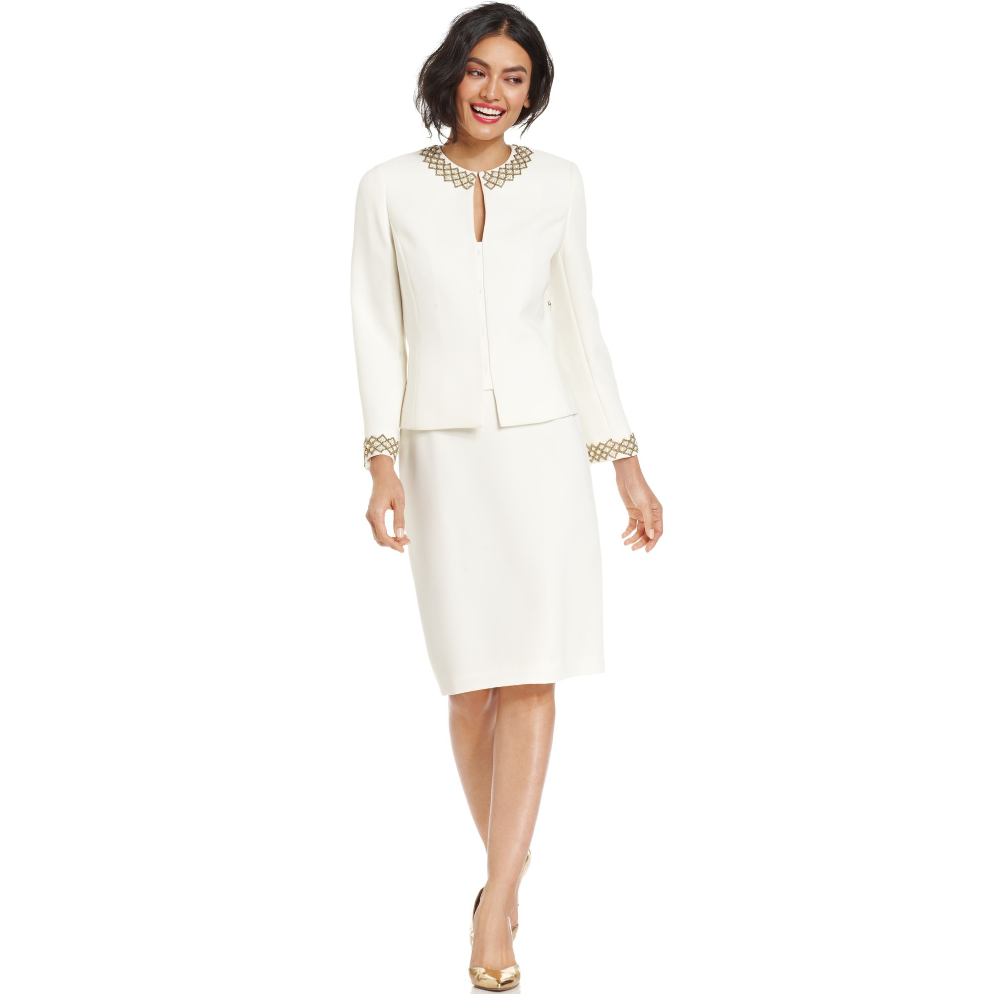 9bbf935c6197 Tahari Asl Collarless Embellished Beaded Skirt Suit in White - Lyst