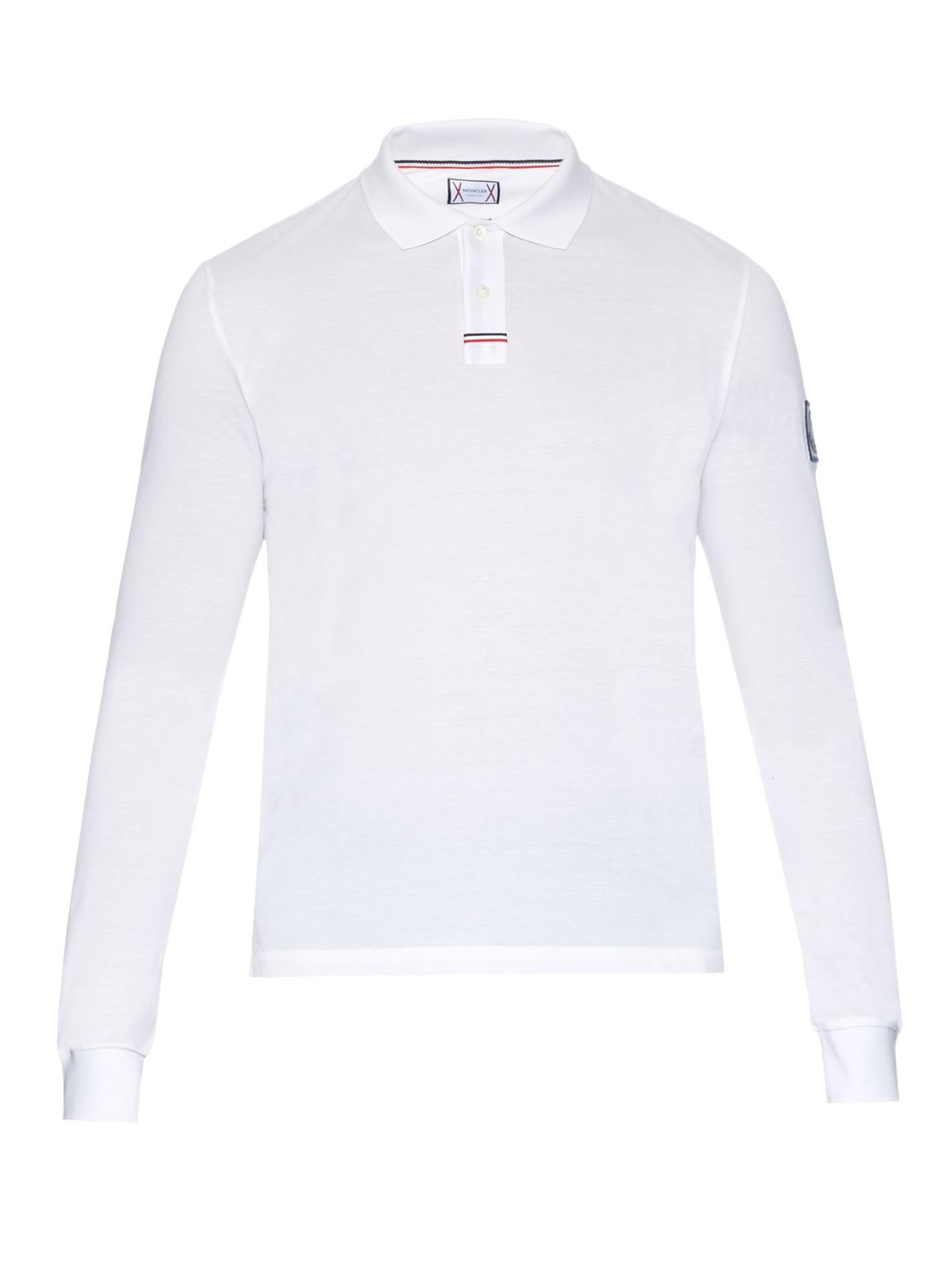 moncler white long sleeve polo