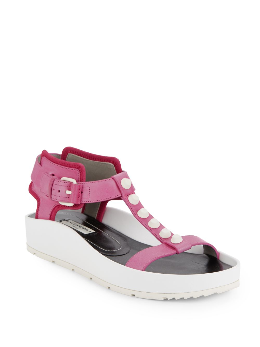 Balenciaga Studded Leather Platform Sandals In Pink Lyst
