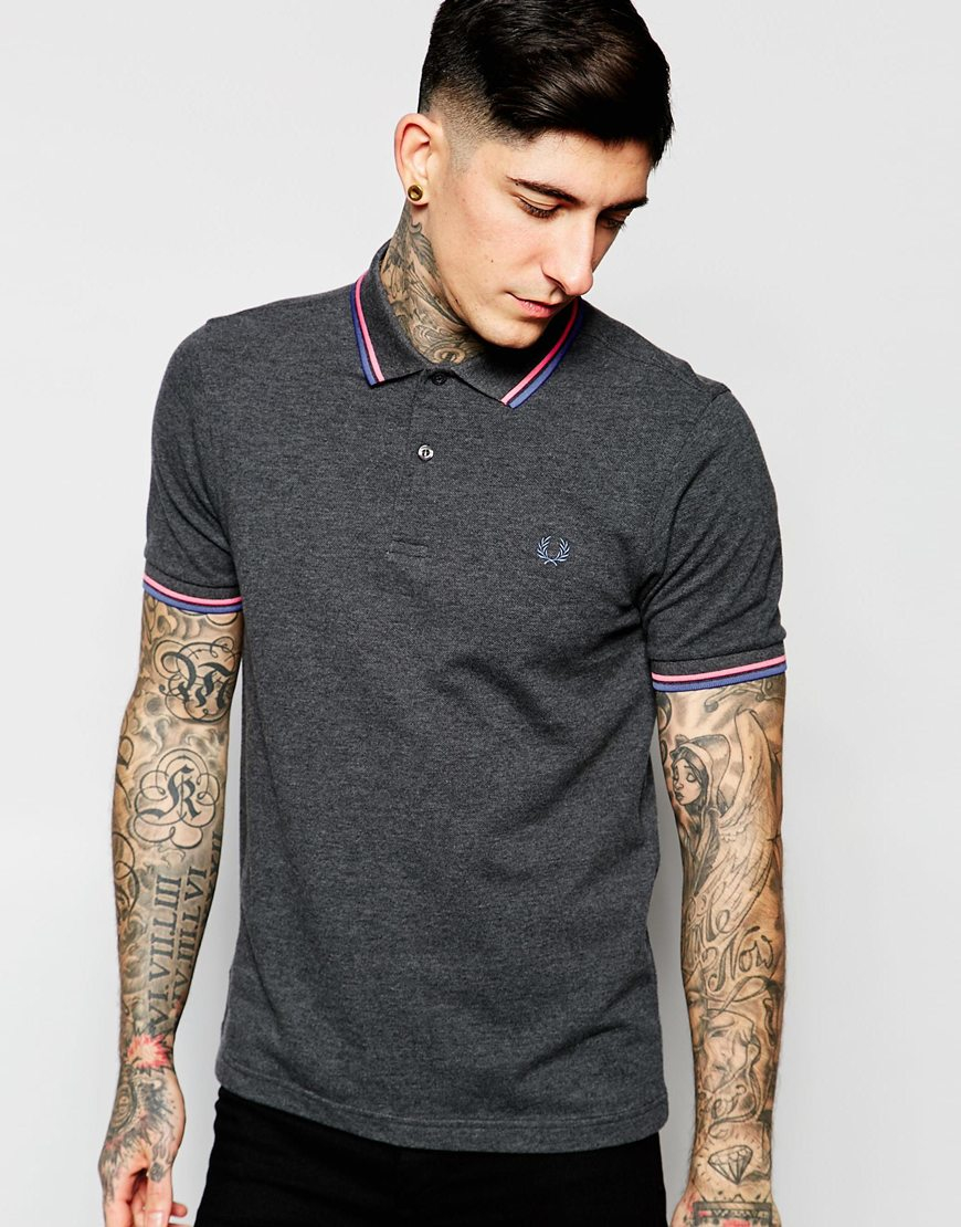 lyst fred perry polo shirt with tipping slim fit in grey. Black Bedroom Furniture Sets. Home Design Ideas