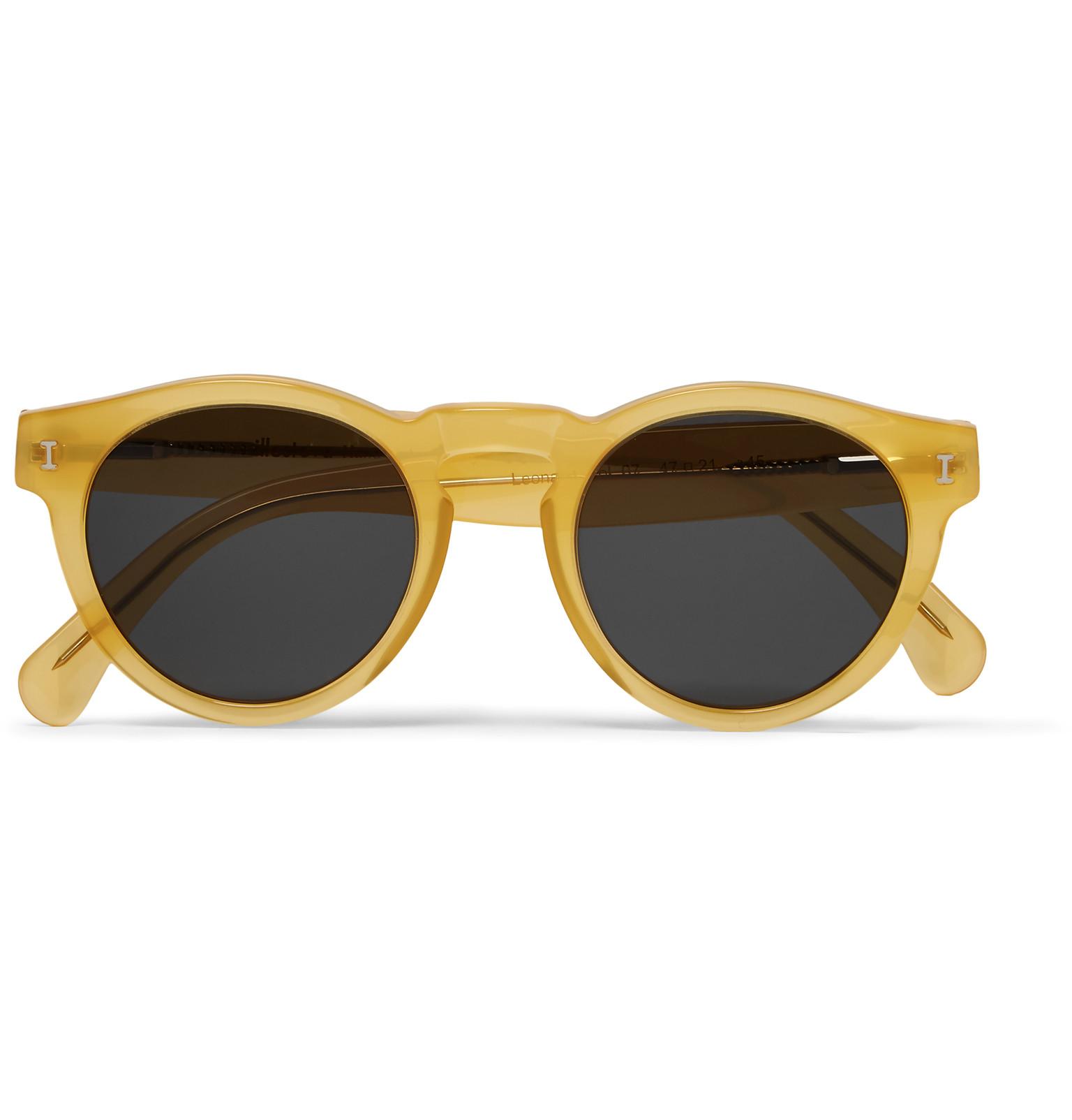 Maui Jim Warranty >> Illesteva Leonard Round-frame Acetate Sunglasses in Yellow ...
