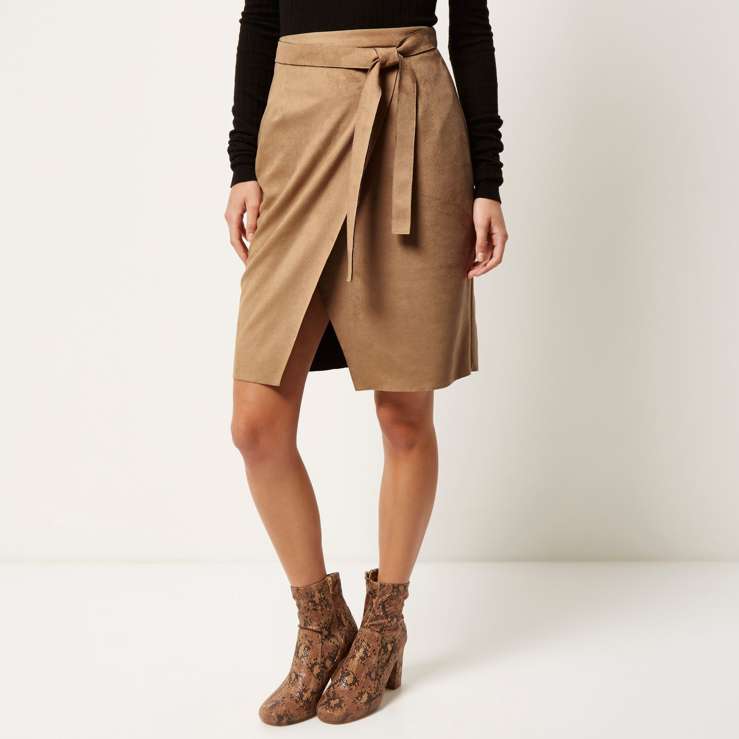River island Brown Faux Suede Tie Waist Skirt in Natural | Lyst