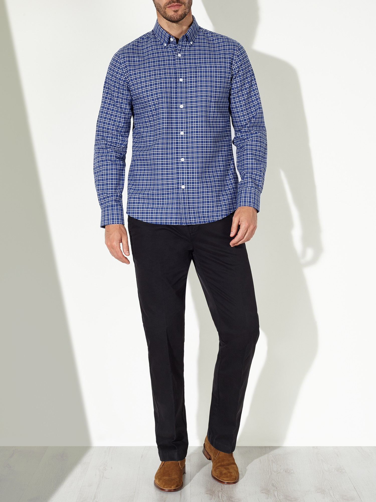 John Lewis Cotton Shadow Check Oxford Shirt in Blue for Men