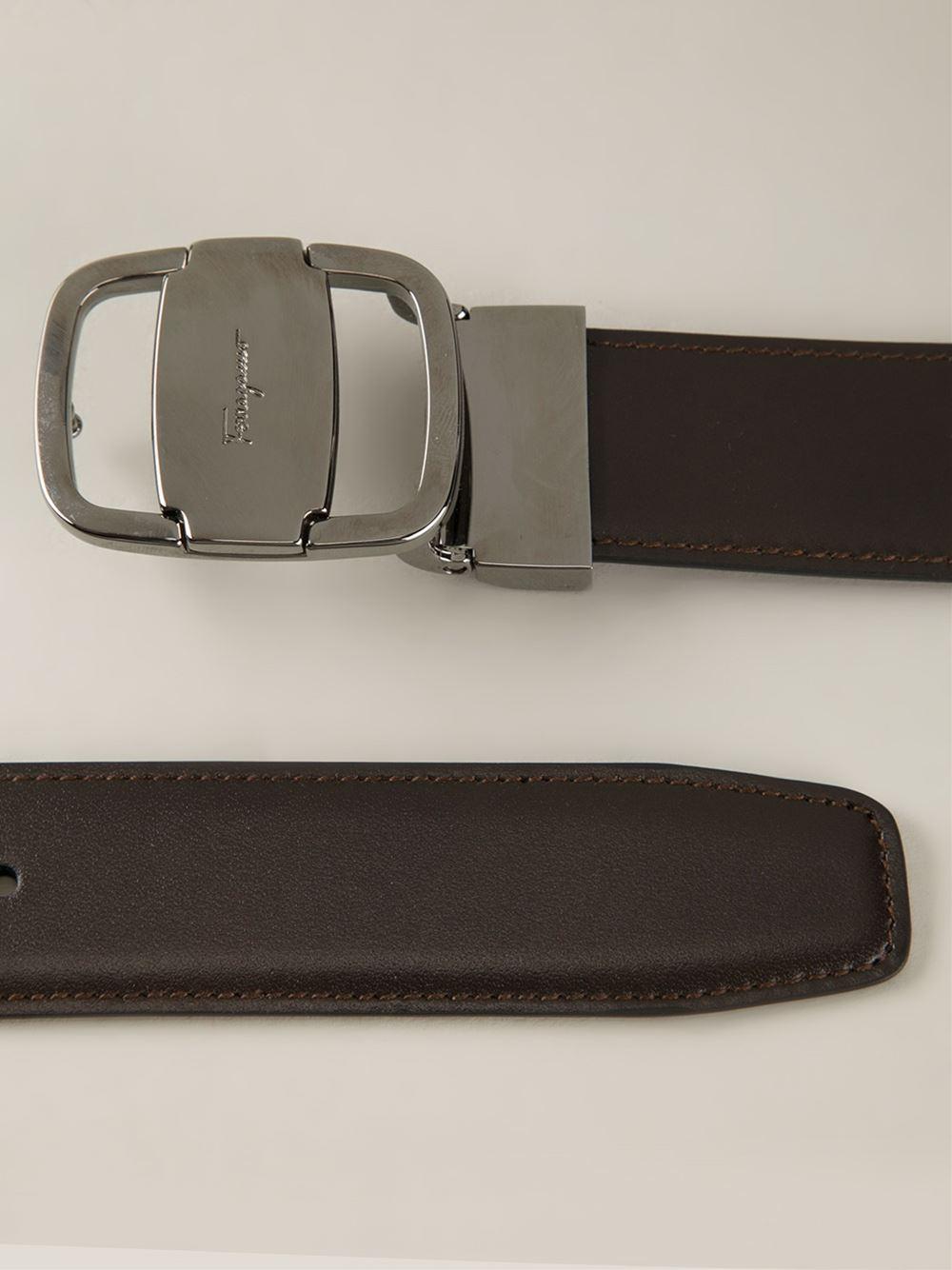ferragamo logo buckle belt in brown for lyst