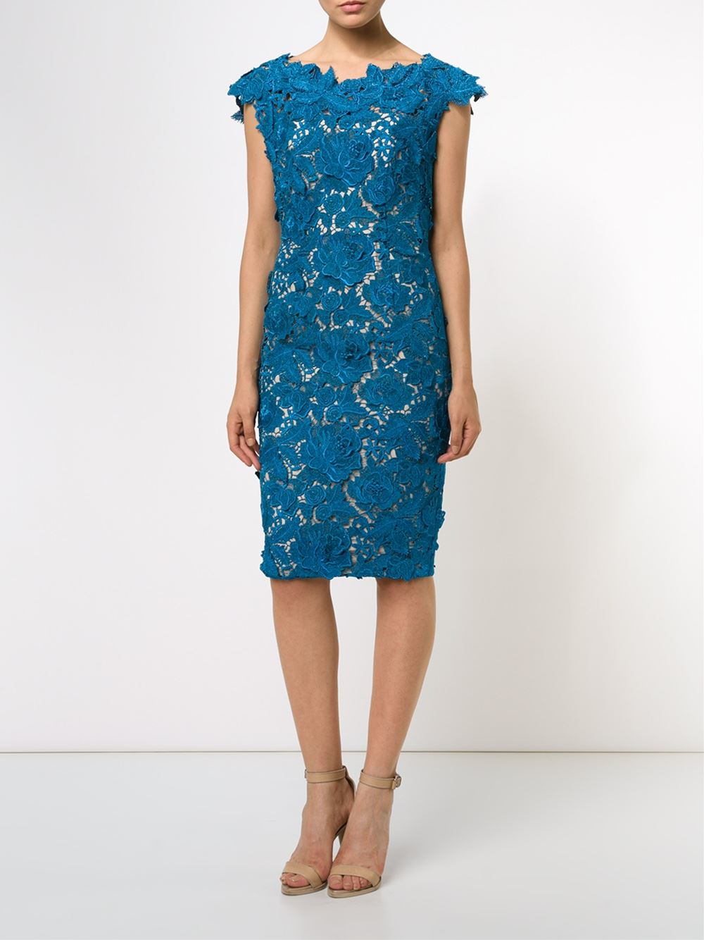 Lela rose embroidered fitted dress in teal blue lyst