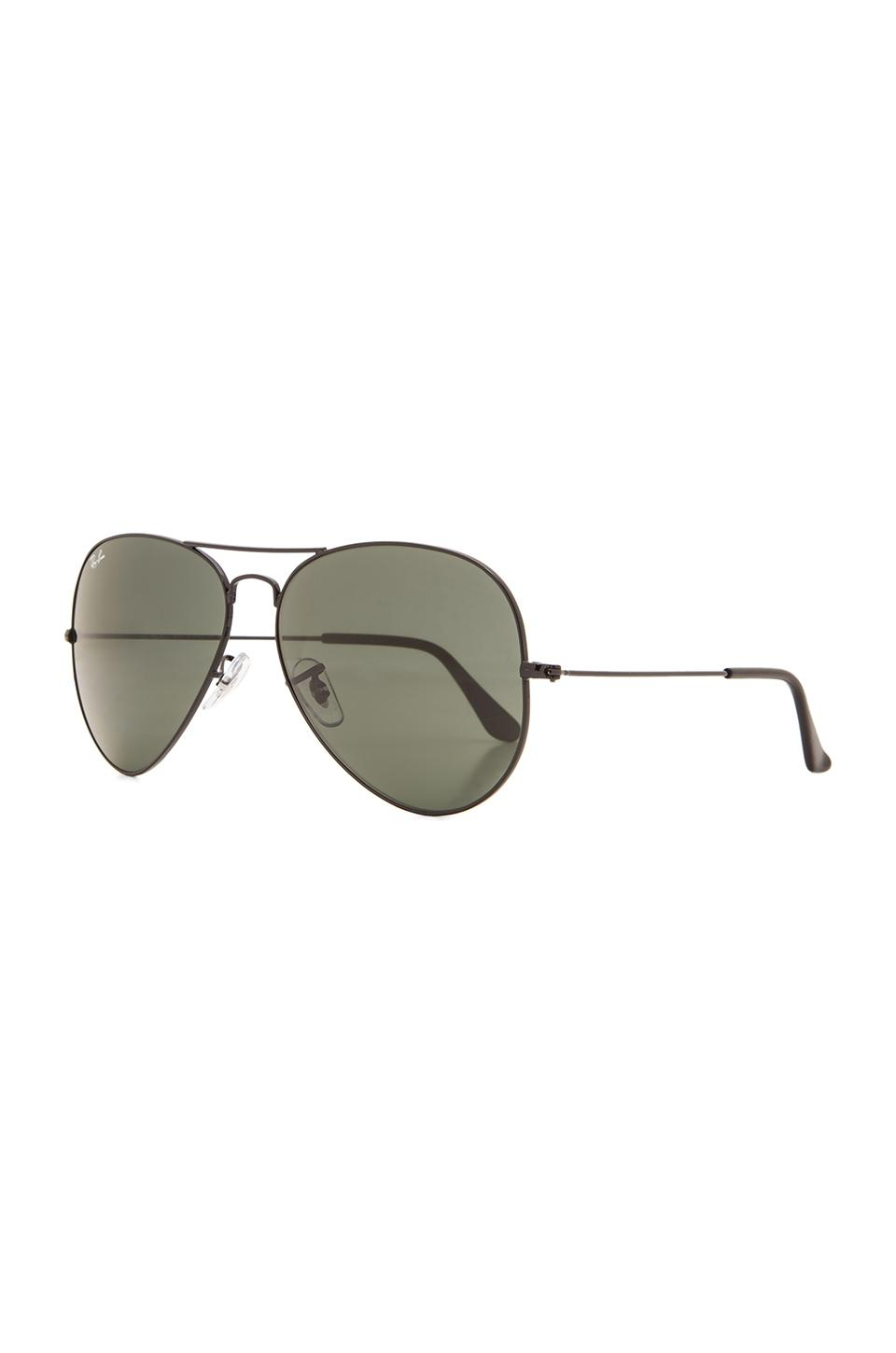 Ray ban aviator large metal ii in black for men lyst for Ray ban aviator miroir homme