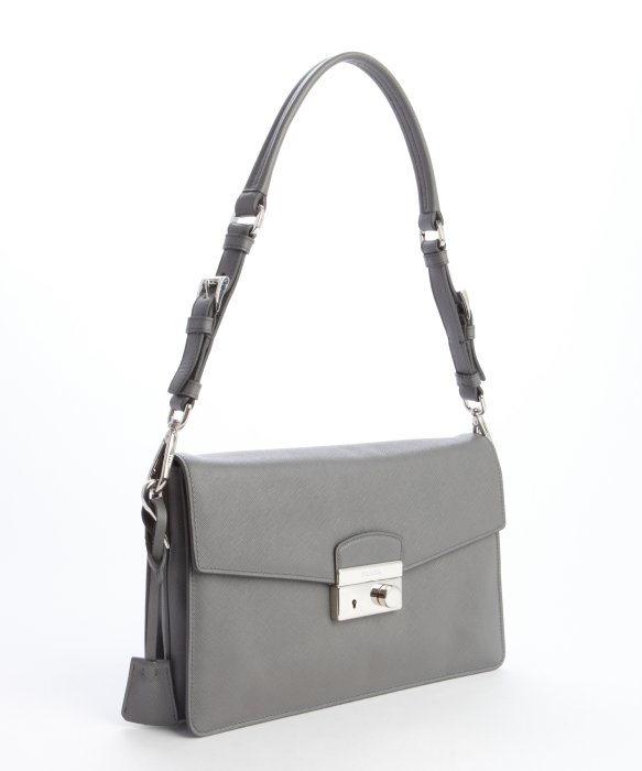 Prada Marble Grey Leather Convertible Clutch Bag in Gray (grey) | Lyst