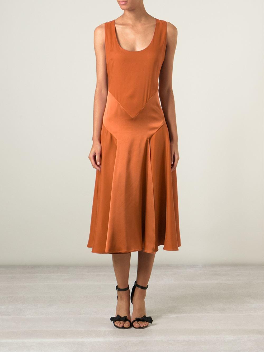 Burberry Prorsum Runway London Fashion Week Aw14: Burberry Prorsum Scoop Neck Dress In Orange