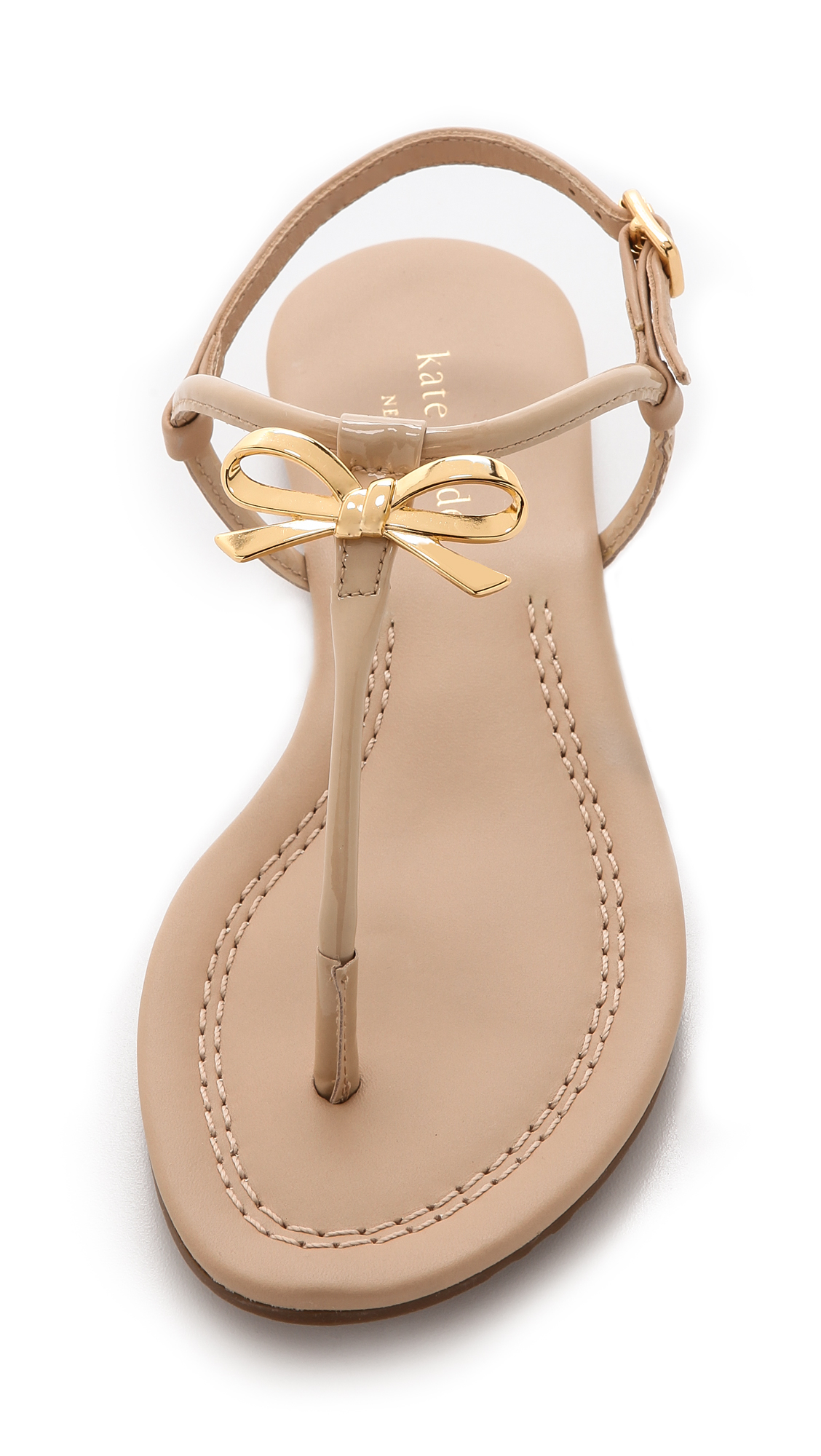 Kate spade new york Tracie Bow Thong Sandals in Natural | Lyst