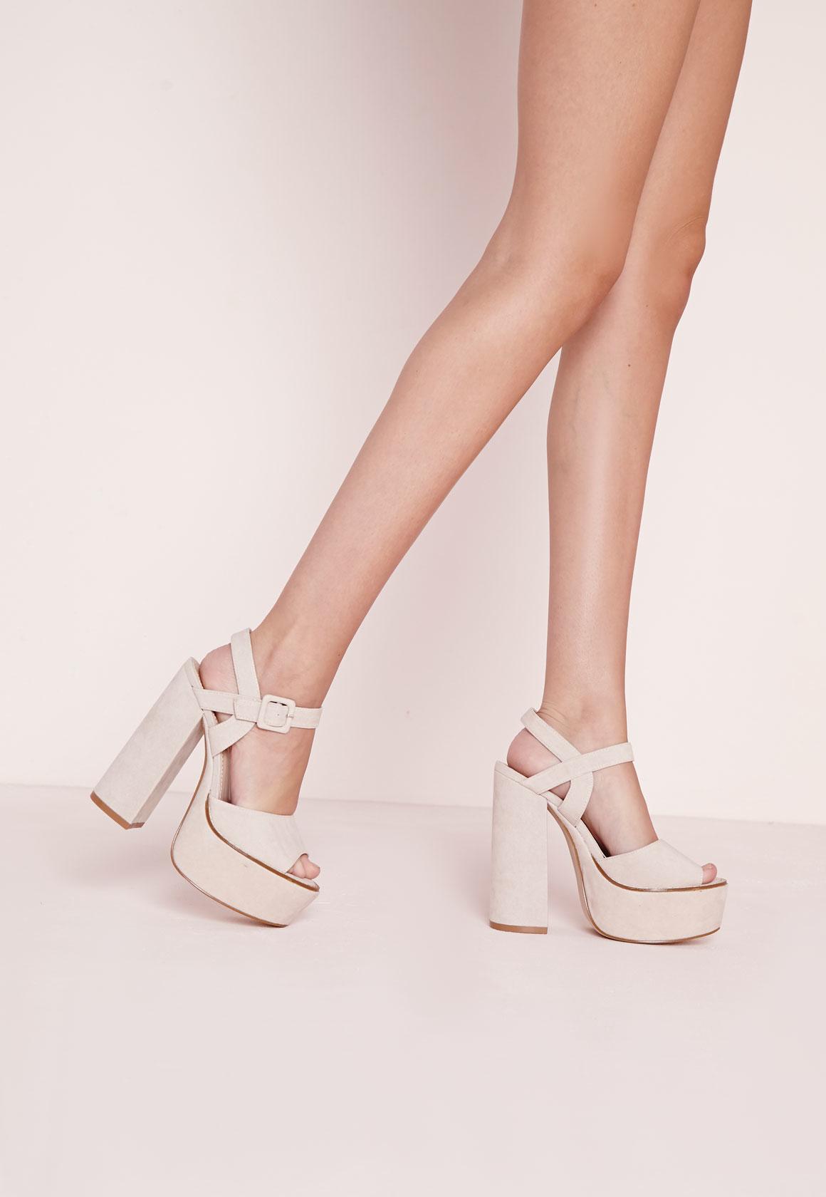 Platform Block Heel Sandals Nude
