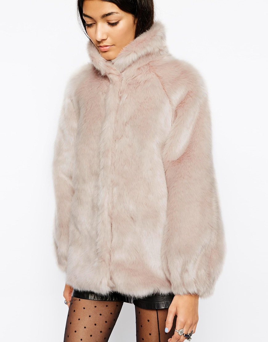 Asos Faux Fur Coat With Funnel Neck in Green   Lyst