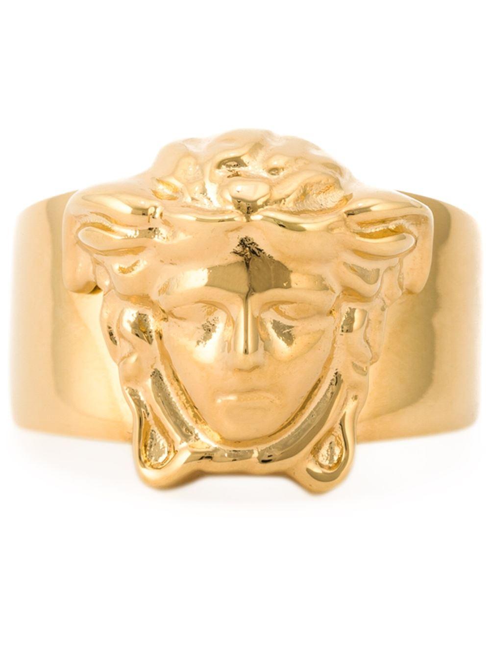 Versace Medusa Ring in Gold for Men metallic