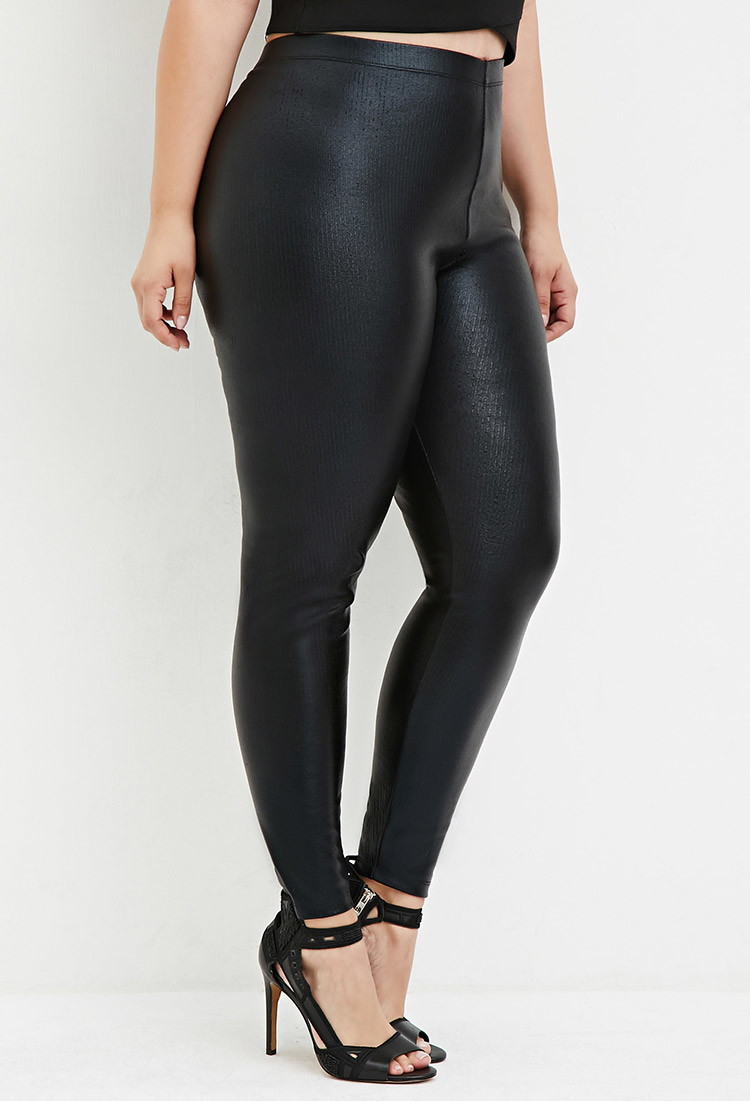 8d68e70650eb0 Lyst - Forever 21 Plus Size Ribbed Faux Leather Leggings in Black