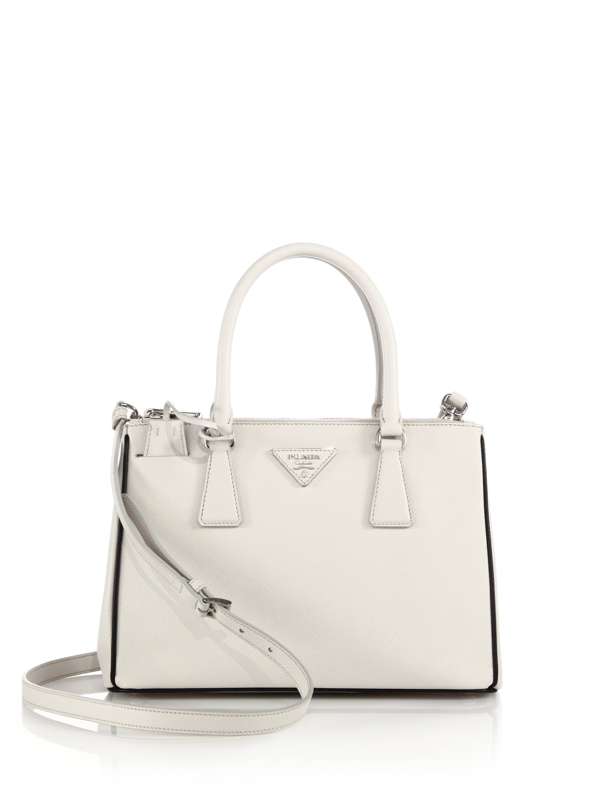 7ff36aab72d4 Prada Saffiano Lux Small Double-zip Tote in White - Lyst
