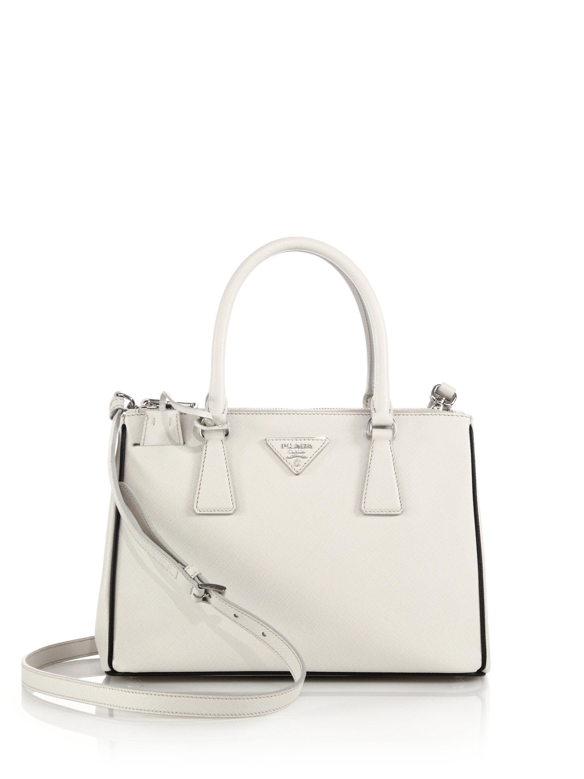 35e9a51888d3 Prada Saffiano Lux Small Double-zip Tote in White - Lyst