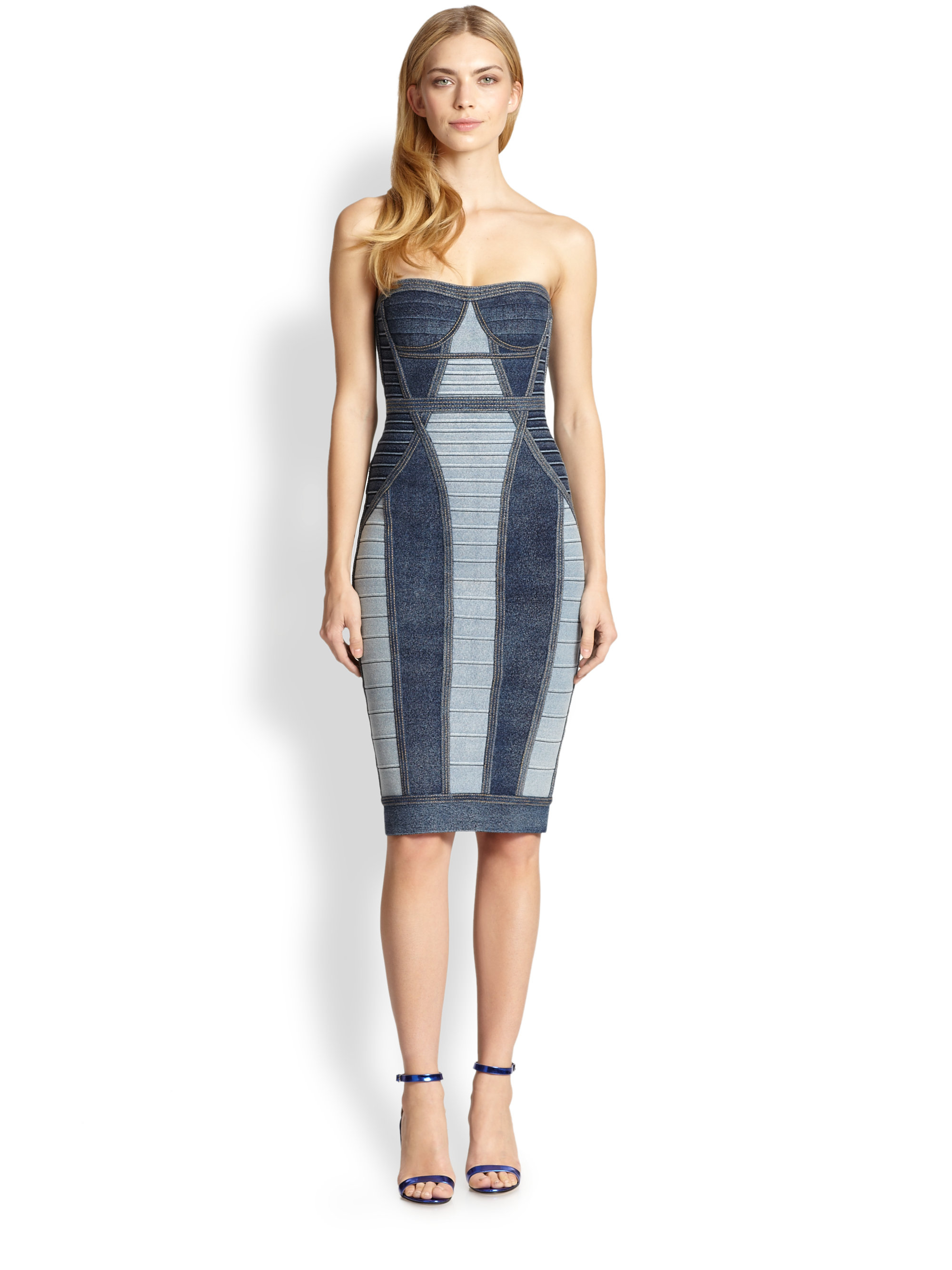Hervé léger Strapless Denim Bandage Dress in Blue | Lyst