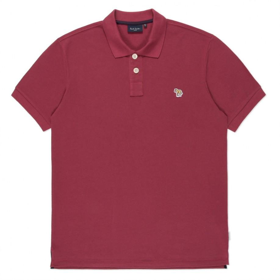 Paul smith men 39 s washed burgundy organic cotton zebra logo for Cotton polo shirts with logo