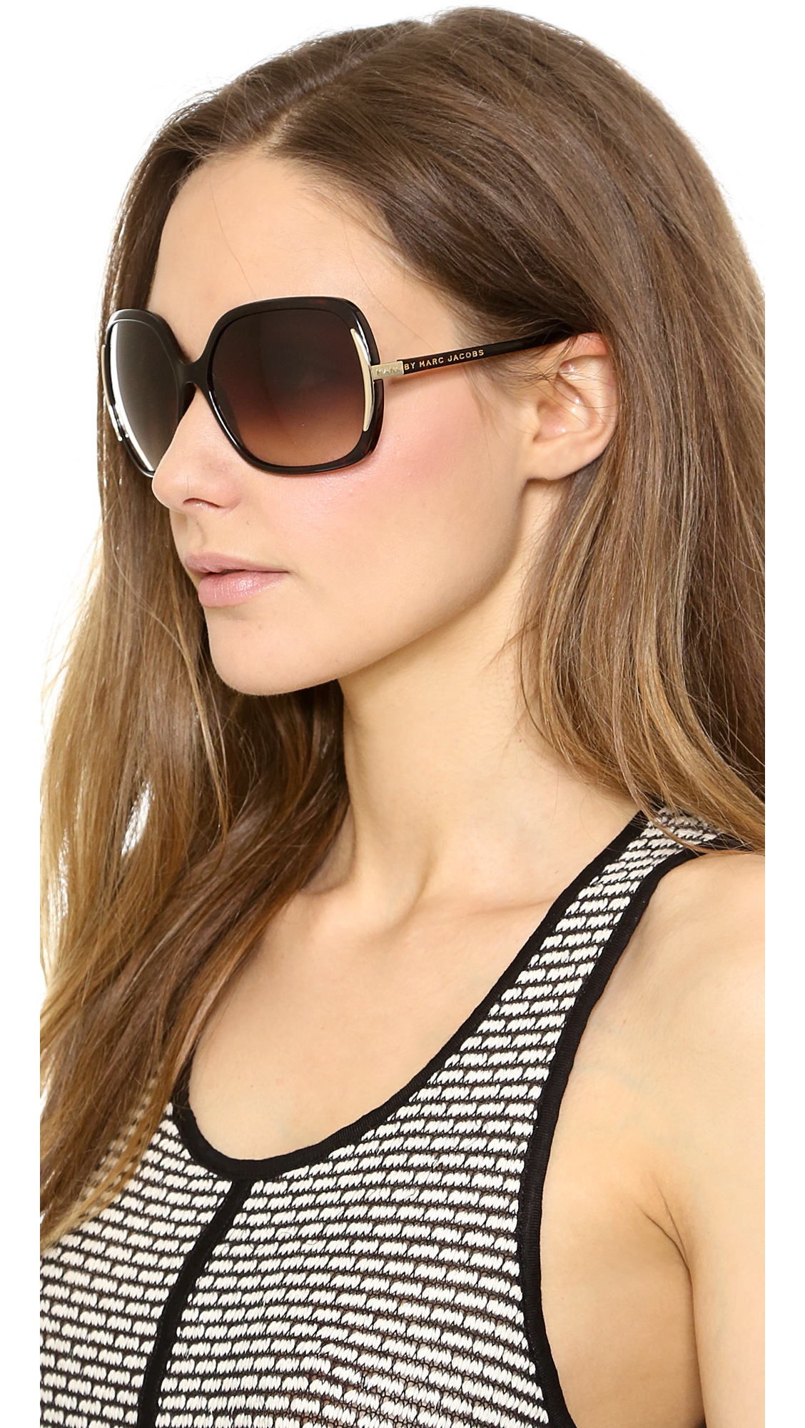 Marc Jacobs Oversized Aviator Sunglasses  marc by marc jacobs oversized sunglasses dark havana in brown lyst
