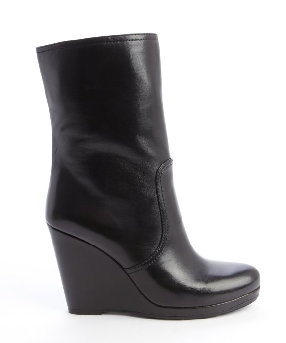prada black leather wedge heel midi boot in black lyst