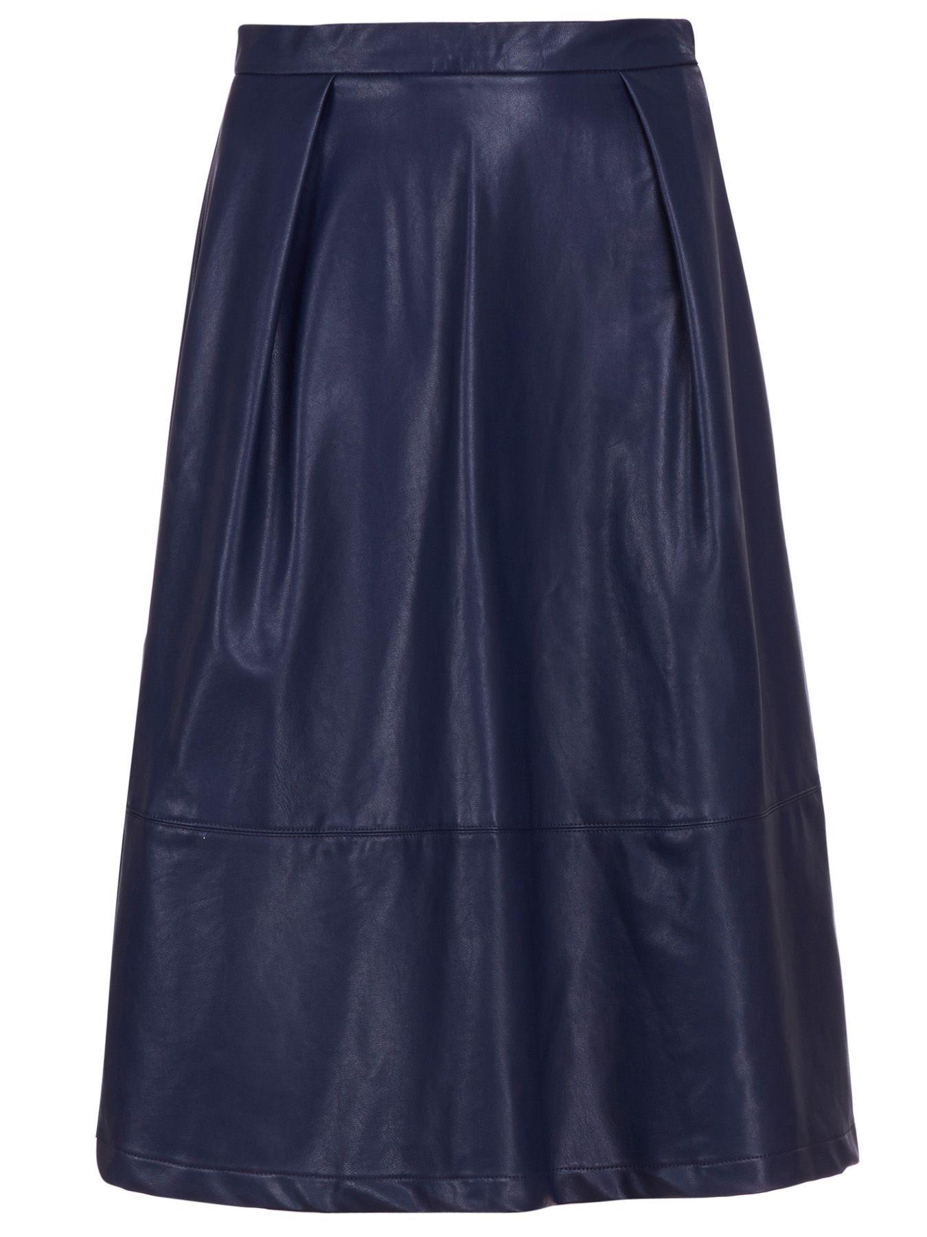 sugarhill sammy pu midi skirt in blue navy lyst