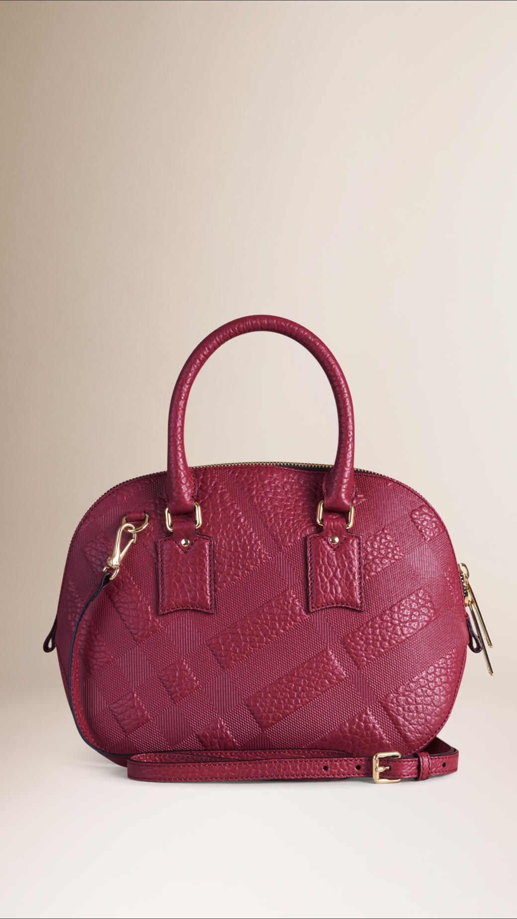 74dab03f408 Lyst - Burberry The Small Orchard In Embossed Check Leather Dark ...