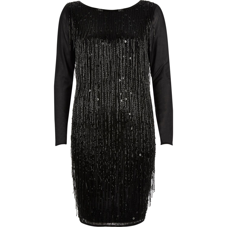 river island black beaded tassel bodycon dress in black lyst