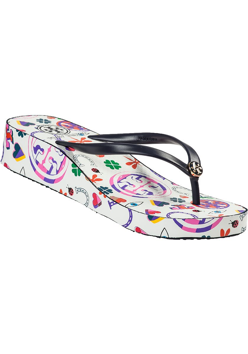 Gallery - Tory Burch Thandie Wedge Flip Flop Navy Lucky Charm In Blue Lyst