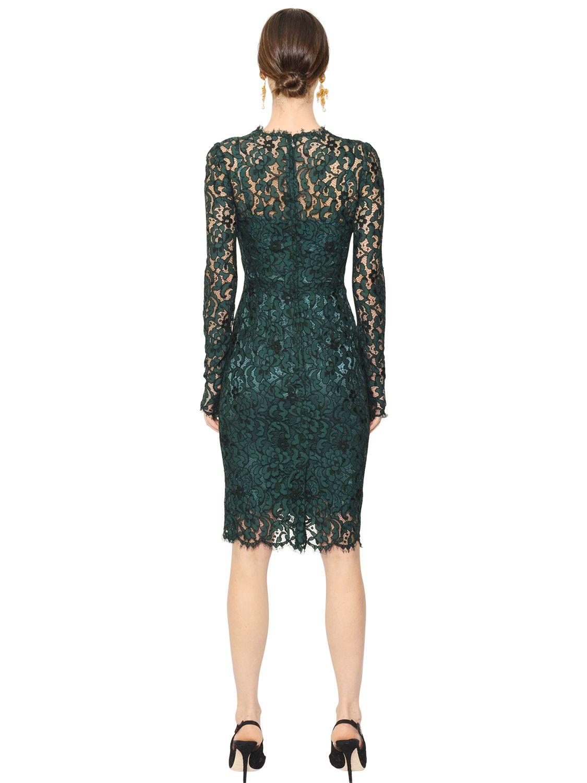 Lyst Dolce Amp Gabbana Cordonetto Lace Dress In Green