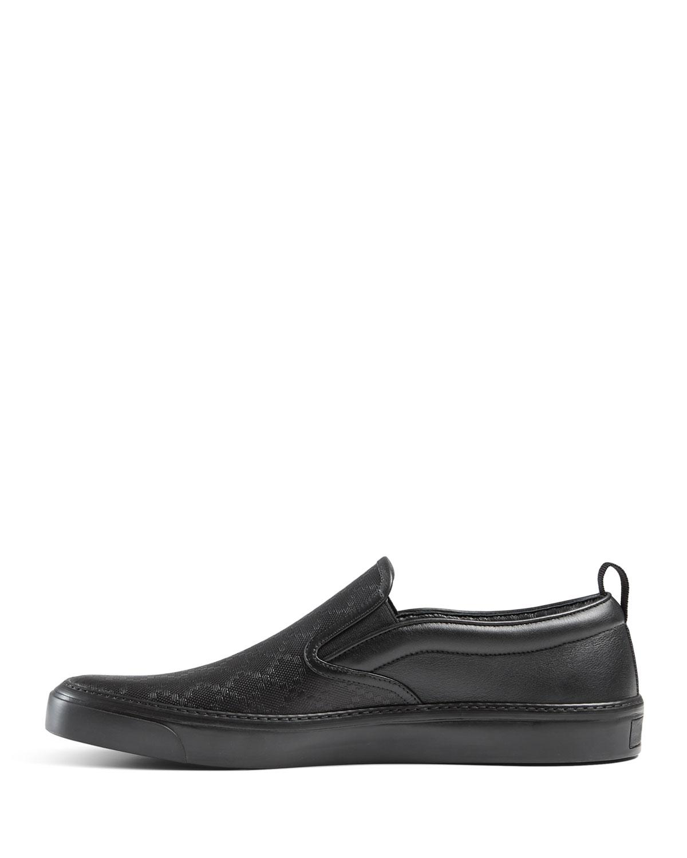 915d8e32dd37 Lyst - Gucci Diamante Leather Slip-on Sneaker in Black for Men