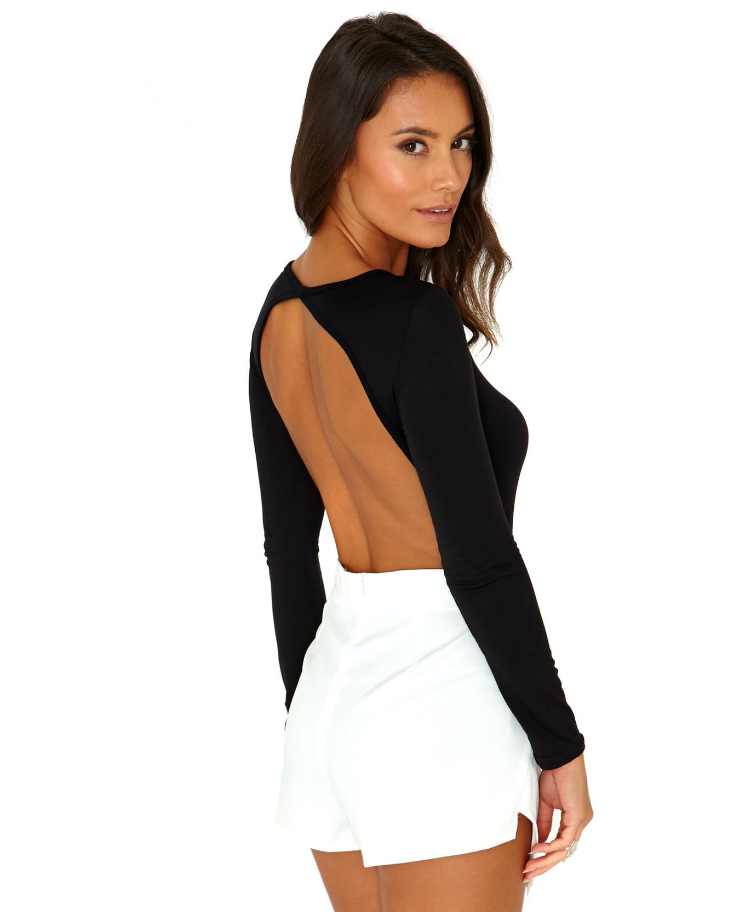 andare online bellissimo aspetto vende Jusiane Bodysuit With Open Back In Black