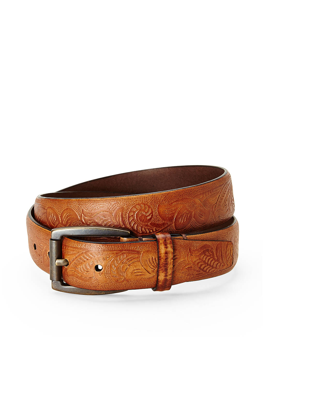 will leather goods cognac printed leather belt in brown