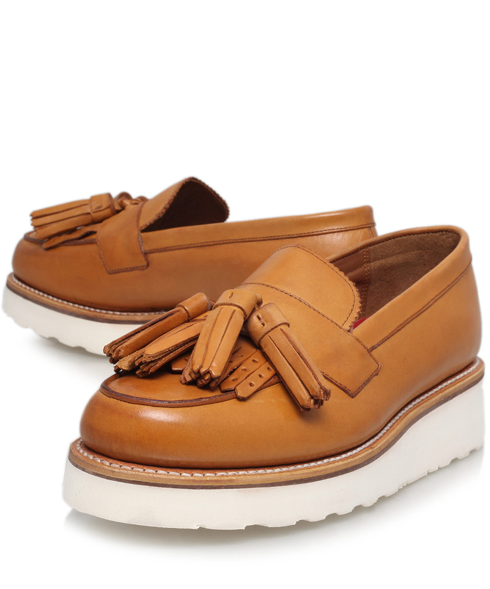 e669874bd1b Lyst - Foot The Coacher Tan Leather Clara Tassel Wedge Loafers in Brown