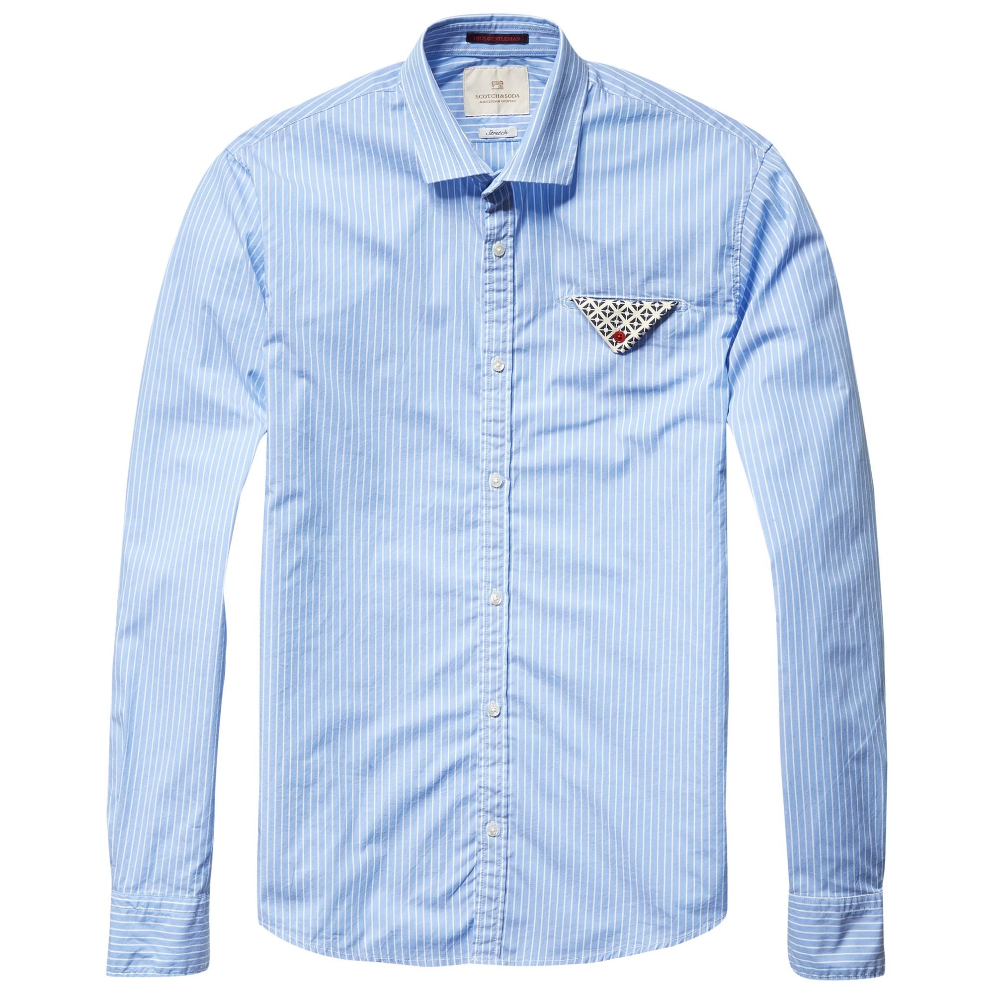 90ed25984e Scotch & Soda Contrast Fold Pocket Shirt in Blue for Men - Lyst