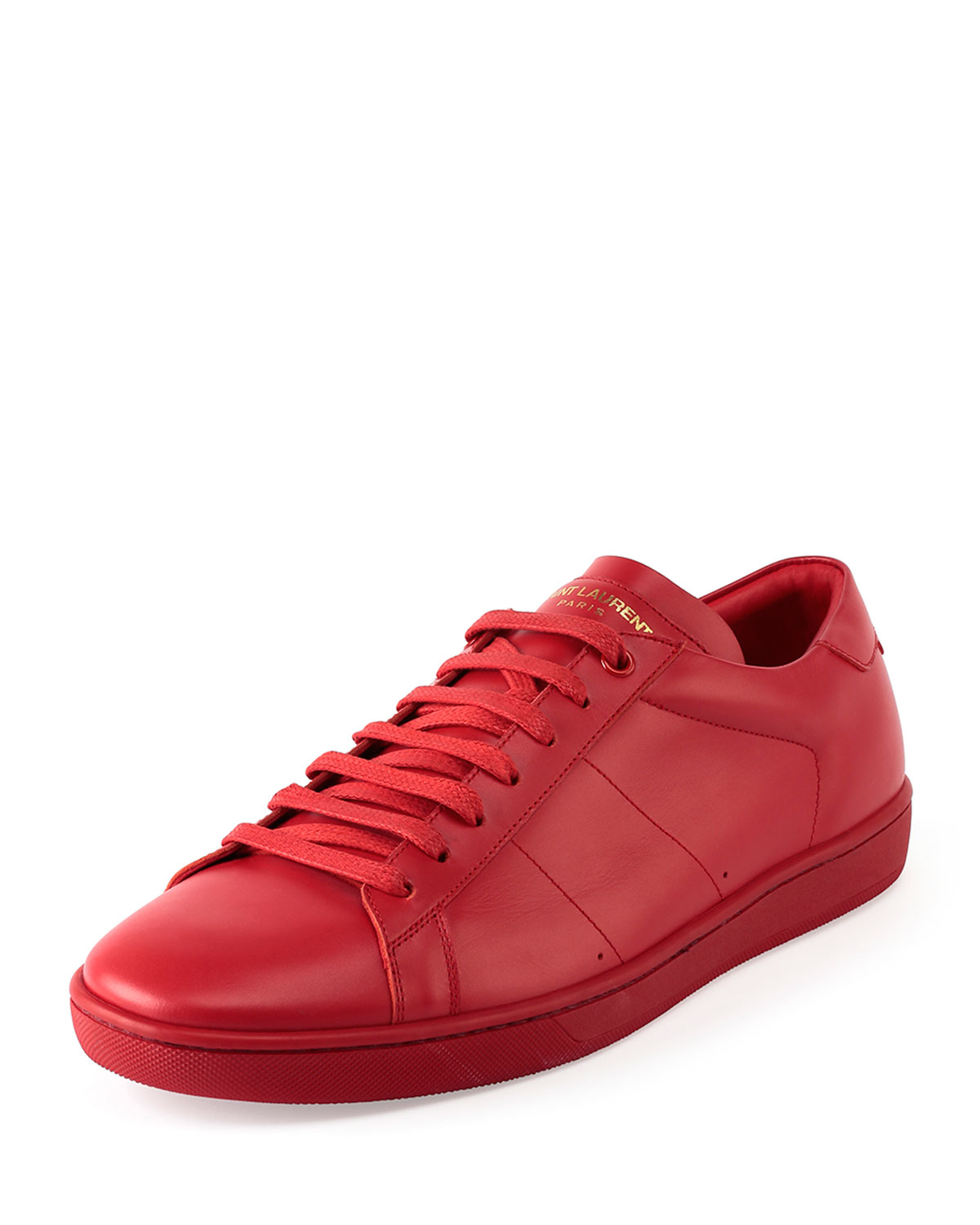 saint laurent leather low top sneakers in red for men lyst. Black Bedroom Furniture Sets. Home Design Ideas