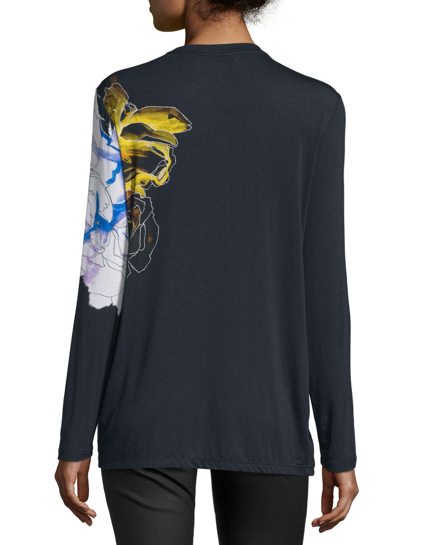 Prabal gurung long sleeve abstract floral print t shirt in for Adam lippes women s long sleeve vee t shirt