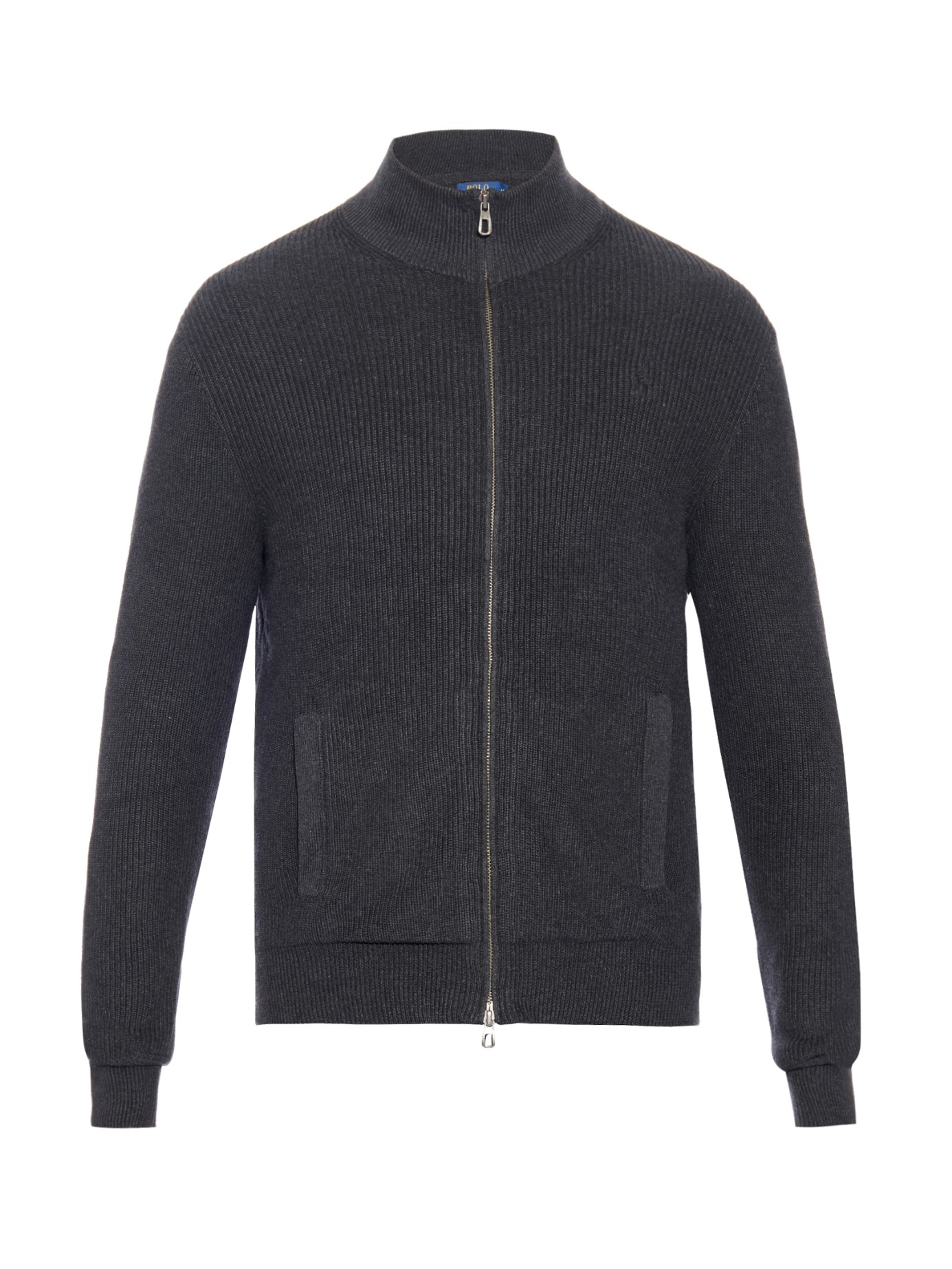 Polo ralph lauren Zip-up Ribbed-knit Cotton Cardigan in Gray for ...